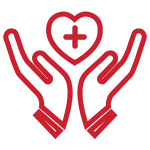 A red illustration of hands holding a heart with a plus sign in the middle of it.
